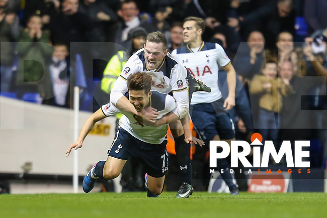 Heung-Min Son of Tottenham Hotspur celebrates after he scores his team's fourth goal of the game to make the score 4-3 during the FA Cup 4th round match between Tottenham Hotspur and Wycombe Wanderers at White Hart Lane, London, England on 28 January 2017. Photo by PRiME Media Images / David Horn.