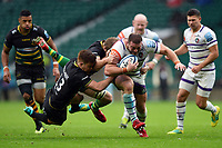 Greg Bateman of Leicester Tigers is double-tackled by Andrew Kellaway and Jamie Gibson of Northampton Saints. Gallagher Premiership match, between Northampton Saints and Leicester Tigers on October 6, 2018 at Twickenham Stadium in London, England. Photo by: Patrick Khachfe / JMP