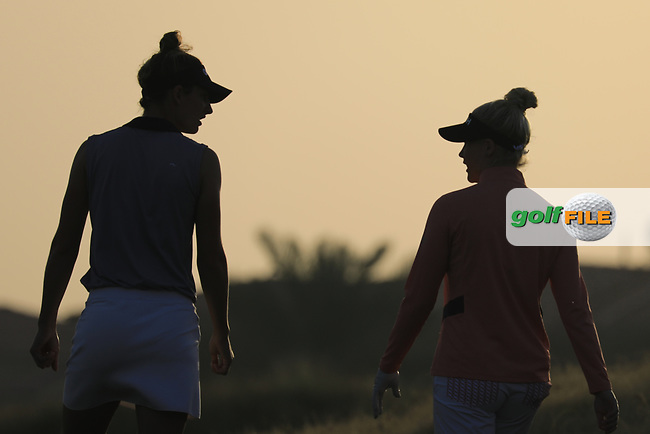 Charley Hull (ENG) and  Anne Van Dam (NED) during the first round of the Fatima Bint Mubarak Ladies Open played at Saadiyat Beach Golf Club, Abu Dhabi, UAE. 10/01/2019<br /> Picture: Golffile | Phil Inglis<br /> <br /> All photo usage must carry mandatory copyright credit (&copy; Golffile | Phil Inglis)