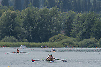 Lucerne, SWITZERLAND, 14th July 2018, Saturday, General View, crews warming down after racing,FISA World Cup III Lake Rotsee, © Peter SPURRIER,
