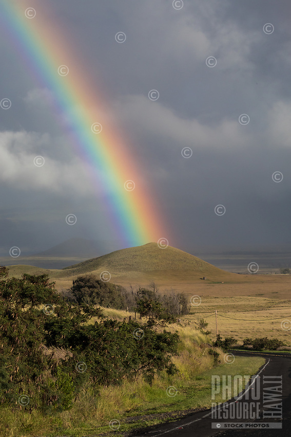 Rainbow Land: A powerful rainbow seems to touch a pu'u (hill or mound) near a road going through Kamuela (a.k.a. Waimea), Big Island of Hawai'i.