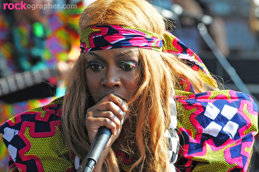 UK popstress Ebony Thomas aka Ebony Bones performs at the final Pool Parties Concert in McCarren Park  , Brooklyn NYC