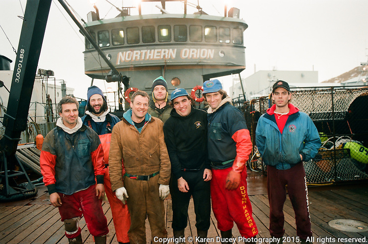 The Northern Orion crew before the Bering Sea oplio crab fishing season in Jan 1995. (photo © Karen Ducey Photography)