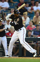 May 12, 2012; Phoenix, AZ, USA; Arizona Diamondbacks outfielder Justin Upton at bat against the San Francisco Giants at Chase Field. Mandatory Credit: Mark J. Rebilas-.