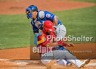 28 February 2019: New York Mets catcher Wilson Ramos gets St. Louis Cardinals third baseman Matt Carpenter out at the plate to end the 3rd inning of a Spring Training game at Roger Dean Stadium in Jupiter, Florida. The Mets defeated the Cardinals 3-2 in Grapefruit League play. Mandatory Credit: Ed Wolfstein Photo *** RAW (NEF) Image File Available ***