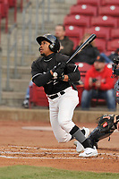 Quad Cities River Bandits center fielder Marty Costes (23) swings at a pitch against the Cedar Rapids Kernels at Veterans Memorial Stadium on April 15, 2019 in Cedar Rapids, Iowa.  The River Bandits won 7-2.  (Dennis Hubbard/Four Seam Images)