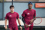 April 23, 2015; San Diego, CA, USA; Loyola Marymount Lions tennis players Joat Farah (left) and Errol Smith (right) during the WCC Tennis Championships at Barnes Tennis Center.