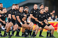1st November 2019, Tokyo, Japan;  New Zealand team perform their pre-game haka, 2019 Rugby World Cup 3rd place match between New Zealand 40-17 Wales at Tokyo Stadium in Tokyo, Japan.  - Editorial Use