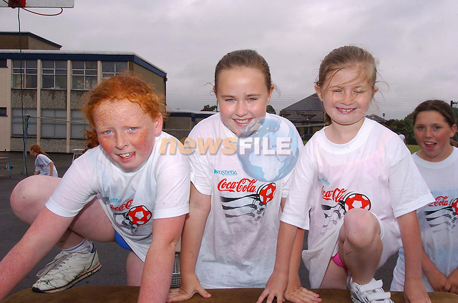 Roisin Dyas, Shauna Reilly and Shauna Woodhouse taking part in the obstacle course at the marymount Summer camp sponsored by Drogheda Concentrates..Photo Fran Caffrey Newsfile.ie..This Picture has been sent to you by Newsfile Ltd..The Studio,.Millmount Abbey,.Drogheda,.Co. Meath,.Ireland..Tel: +353(0)41-9871240.Fax: +353(0)41-9871260.ISDN: +353(0)41-9871010.www.newsfile.ie..general email: pictures@newsfile.ie