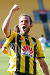 Phoenix's Jeremy Brockie celebrates after scoring his second goal agains the Brisbane Roar in the A-League football match at Westpac Stadium, Wellington, New Zealand, Sunday, January 04, 2015. Credit: Dean Pemberton