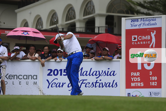 Sergio Garcia (ESP) on the 15th tee during Round 4 of the CIMB Classic in the Kuala Lumpur Golf &amp; Country Club on Sunday 2nd November 2014.<br /> Picture:  Thos Caffrey / www.golffile.ie