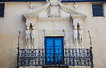 Carved figures of South American indians on the facade of the Palacio de los Marqueses de Salvatierra, Ronda, Spain