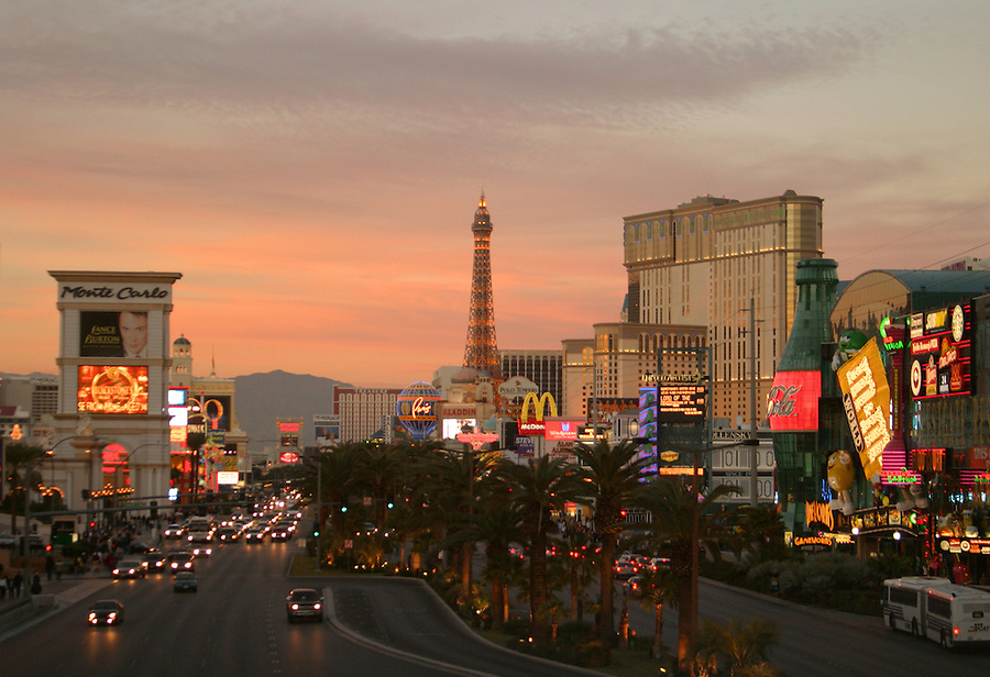View looking down The Strip at sunset, Las Vegas, Clark County, NV