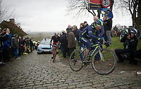 Nairo Quintana (COL/Movistar) on top of the Paterberg with Alexandr Kolobnev (RUS/Katusha) right behind him<br /> <br /> 70th Dwars Door Vlaanderen 2015