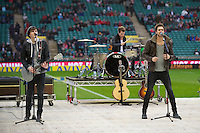 (L-R) Joel Peat, Adam Pitts  and Andy Brown of Lawson perform prior to the Aviva Premiership match between Harlequins and London Irish at Twickenham on Saturday 29th December 2012 (Photo by Rob Munro).