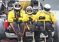 Feb. 12, 2012; Pomona, CA, USA; NHRA safety safari members during the Winternationals at Auto Club Raceway at Pomona. Mandatory Credit: Mark J. Rebilas-