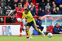 Blackburn Rovers' Bradley Dack battles with Nottingham Forest's Jack Robinson<br /> <br /> Photographer David Shipman/CameraSport<br /> <br /> The EFL Sky Bet Championship - Nottingham Forest v Blackburn Rovers - Saturday 13th April 2019 - The City Ground - Nottingham<br /> <br /> World Copyright © 2019 CameraSport. All rights reserved. 43 Linden Ave. Countesthorpe. Leicester. England. LE8 5PG - Tel: +44 (0) 116 277 4147 - admin@camerasport.com - www.camerasport.com