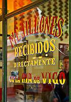 Colorful window of a tapas, Mejillones, madrid, Spain