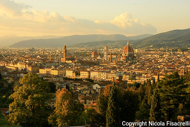 The renaissance city of Florence as viewed from  the tourist hotspot Michelangelo Square.