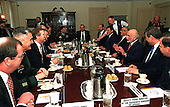 His Majesty King Hussein I, of the Hashemite Kingdom of Jordan (third from right), meets with Secretary of Defense William S. Cohen (third from left) at the Pentagon on March 19, 1998.                                                                                 .Mandatory Credit: Helene C. Stikkel / DoD via CNP.