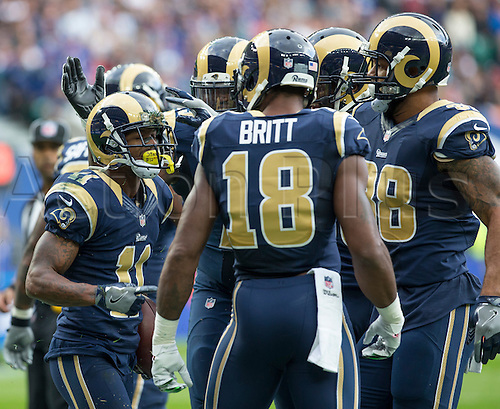 23.10.2016. Twickenham, London, England. NFL International Series. New York Giants versus LA Rams. Los Angeles Rams Punt/Kick Returner Tavon Austin celebrates with his team mates after scoring a touch down in the opening minutes of the first quarter.