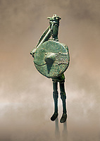 Iron Age Nuragic broze statue of a soldier with a shield and sword from Monte Arcosu di Uta, Sardinia. Museo archeologico nazionale, Cagliari, Italy. (National Archaeological Museum)  - Art Background