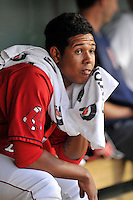 Starting pitcher Anderson Espinoza (23) of the Greenville Drive sits in the dugout between innings of a game against the Columbia Fireflies on Saturday, April 23, 2016, at Fluor Field at the West End in Greenville, South Carolina. Columbia won, 7-3. (Tom Priddy/Four Seam Images)