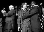 NOVEMBER 7, 2006: Rep. Tim Ryan, D-Ohio, and Rep. Kendrick Meek, D-Fla., hug at the Democrats' Election Night Watch Party as Democrats take control of Congress.