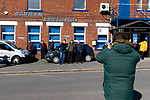 Portsmouth fans taking a group shot with the Oldham Athletic sign. Oldham v Portsmouth League 1