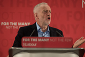 Jeremy Corbyn speaks at a Labour Party election press conference, Tower Hamlets, London.