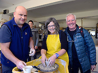 Food critics Sally and John McKenna try their hands at pottery making with Lasse Mulcahy during a visit to Louis Mulcahy's Pottery Store at Dun Chaoin in West Kerry during a fact finding tour of Slea Head as part of the National Tourism Forum which took place in Killarney at the weekend. Over 200 delegates from all over Ireland attend the inaugural event which was addressed by national and international speakers.<br /> Photo: Don MacMonagle<br /> <br /> Repro free photo