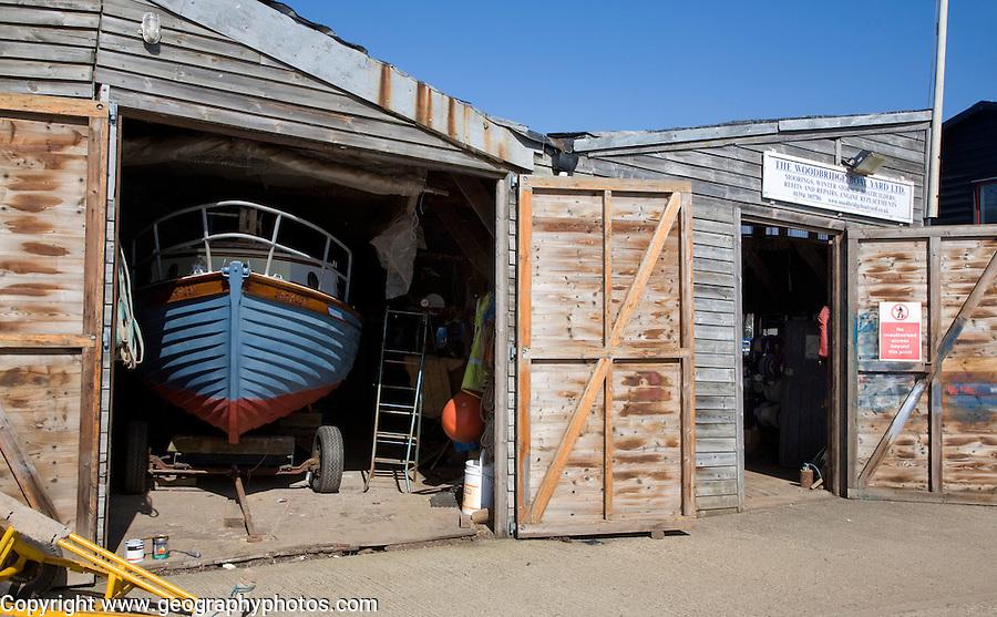Boats being repaired in boatyard, Woodbridge, Suffolk, England
