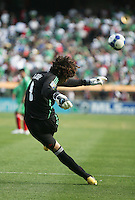 Guillermo Ochoa kicks out the ball. Mexico defeated Nicaragua 2-0 during the First Round of the 2009 CONCACAF Gold Cup at the Oakland, Coliseum in Oakland, California on July 5, 2009.