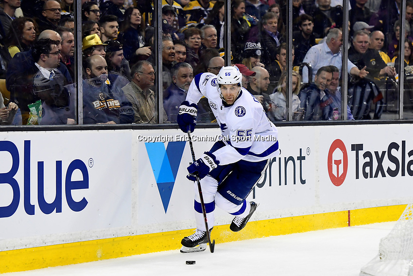 March 29, 2018: Tampa Bay Lightning defenseman Braydon Coburn (55) in game action during the NHL game between the Tampa Bay Lightning and the Boston Bruins held at TD Garden, in Boston, Mass. Boston defeats Tampa Bay 4-2. Eric Canha/CSM