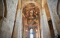 picture &amp; image of the interior and frescoes of the Samtavisi Georgian Orthodox Cathedral, 11th century, Shida Karti Region, Georgia (country)<br /> <br /> Built during the so called 10-11th century &ldquo;Georgian Golden Era&rdquo; Samtavisi cathedral is a built in classical Georgian style of the period. Layout on a cruciform ground plan with a high central cylindrical central cupola.