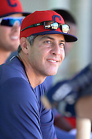 Cleveland Indians coach Alan Zinter in the dugout during an instructional league game against the Cincinnati Reds on September 28, 2013 at Goodyear Training Complex in Goodyear, Arizona.  (Mike Janes/Four Seam Images)