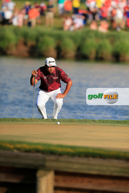 Hideki Matsuyama (JAP) on the 17th green during the final round of the Players, TPC Sawgrass, Championship Way, Ponte Vedra Beach, FL 32082, USA. 15/05/2016.<br /> Picture: Golffile | Fran Caffrey<br /> <br /> <br /> All photo usage must carry mandatory copyright credit (&copy; Golffile | Fran Caffrey)