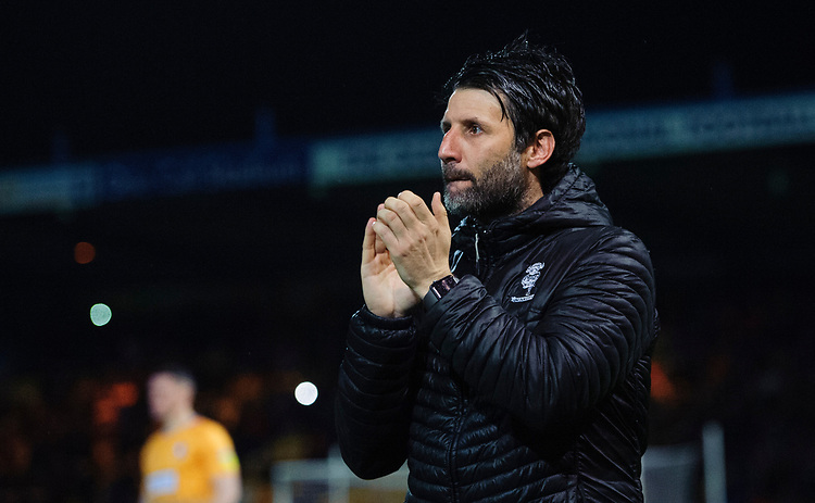 Lincoln City manager Danny Cowley applauds the fans prior to the game<br /> <br /> Photographer Chris Vaughan/CameraSport<br /> <br /> The EFL Sky Bet League Two - Mansfield Town v Lincoln City - Monday 18th March 2019 - Field Mill - Mansfield<br /> <br /> World Copyright © 2019 CameraSport. All rights reserved. 43 Linden Ave. Countesthorpe. Leicester. England. LE8 5PG - Tel: +44 (0) 116 277 4147 - admin@camerasport.com - www.camerasport.com
