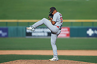 Surprise Saguaros relief pitcher Jordan Hicks (99), of the St. Louis Cardinals organization, delivers a pitch to the plate during a game against the Mesa Solar Sox on October 20, 2017 at Sloan Park in Mesa, Arizona. The Solar Sox walked-off the Saguaros 7-6.  (Zachary Lucy/Four Seam Images)