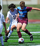 Francis Howell Central's Tanner Jones (left) and DeSmet's Andrew Morrissey vie for the ball. DeSmet defeated Francis Howell Central 2-1 on Saturday September 14, 2019.<br /> Tim Vizer/Special to STLhighschoolsports.com