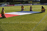 Ball girls unveil the French National flag before the UEFA Womens U19 Championships at Stebonheath Park, Llanelli  Monday 19th August 2013. All images are the copyright of Jeff Thomas Photography-www.jaypics.photoshelter.com-07837 386244-Any use of images must be authorised by the copyright owner.