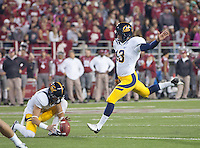 October 13th, 2012: California's Vincenzo D'Amato kicks for a field gold during a game against Washington State at Martin Stadium in Pullman, Wa    California defeated Washington State 31 - 17