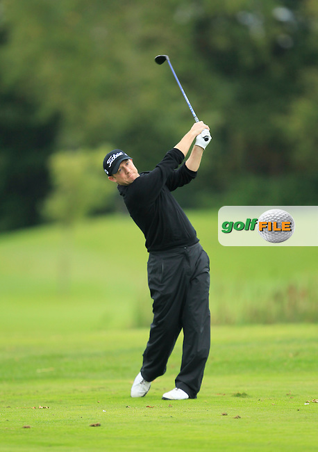 Shane Deegan (Spawell Driving Range) on the 15th tee during Round 3 of The Cassidy Golf 103rd Irish PGA Championship in Roganstown Golf Club on Saturday 12th October 2013.<br /> Picture:  Thos Caffrey / www.golffile.ie