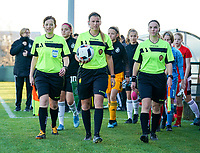 20191204 - TUBEKE , BELGIUM : assistant referee Joline Delcraux (left), match referee Chloe Mingroet (middle) and assistant referee Jana van Laere (right) enter the pitch the start of the international friendly female soccer game between the Belgian Flames U15 and Germany , Wednesday 4 th December 2019 at the Belgian Football Centre, Tubeke / Tubize , Belgium. PHOTO SPORTPIX.BE | SEVIL OKTEM