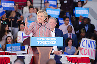 Hillary Clinton speaks with Al Gore at Rally in Miami, FL on October 11, 2016