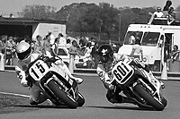 Keith Huewen (#15 Yamaha), Roger Marshall (#601 Suzuki), Daytona 200, Daytona International Speedway, March 8, 1987.  (Photo by Brian Cleary/bcpix.com)