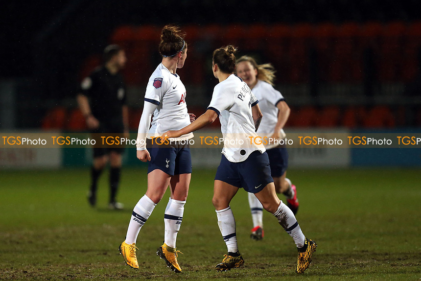 Emma Mitchell of Tottenham Hotspur women  is congratulated after scoring the second goal during Tottenham Hotspur Women vs Everton Women, Barclays FA Women's Super League Football at the Hive Stadium on 12th February 2020