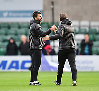 Lincoln City manager Danny Cowley, left, and Lincoln City's assistant manager Nicky Cowley celebrate at the end of the game<br /> <br /> Photographer Chris Vaughan/CameraSport<br /> <br /> The EFL Sky Bet League Two - Lincoln City v Crewe Alexandra - Saturday 6th October 2018 - Sincil Bank - Lincoln<br /> <br /> World Copyright &copy; 2018 CameraSport. All rights reserved. 43 Linden Ave. Countesthorpe. Leicester. England. LE8 5PG - Tel: +44 (0) 116 277 4147 - admin@camerasport.com - www.camerasport.com
