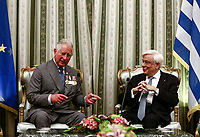 Pictured: Prince Charles with Greek President Prokopis Pavlopoulos at the Presidential Mansion in Athens, Greece. Wednesday 09 May 2018 <br /> Re: Official visit of HRH Prnce Charles and his wife the Duchess of Cornwall to Athens, Greece.