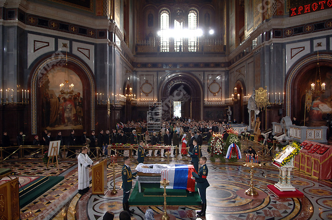 Boris Yeltsin, Russia's first democratically elected president, who died yesterday, lay in state at Christ the Saviour Cathedral. April 24, 2007, Moscow, Russia
